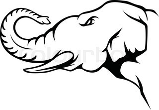 320x221 Elephant Head, African Elephant, Black And White Vector