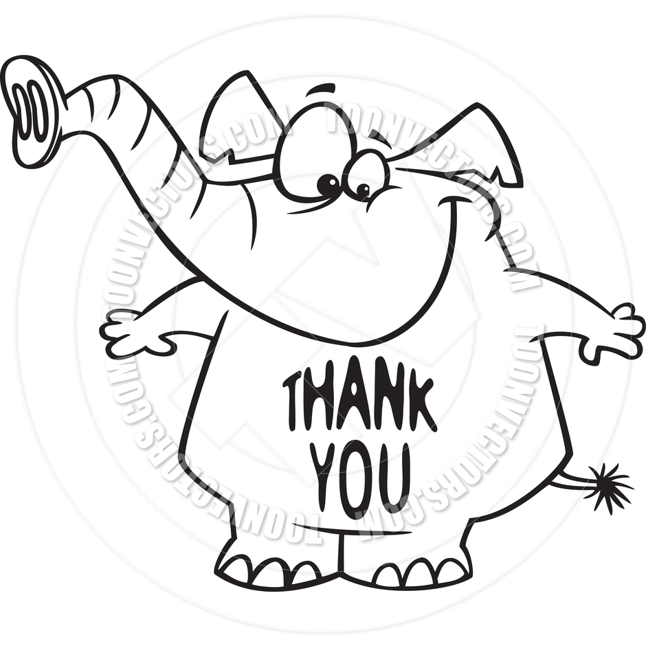 940x940 Cartoon Thank You Elephant (Black And White Line Art) By Ron