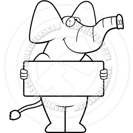 460x460 Elephant Sign (Black And White Line Art) By Cory Thoman Toon