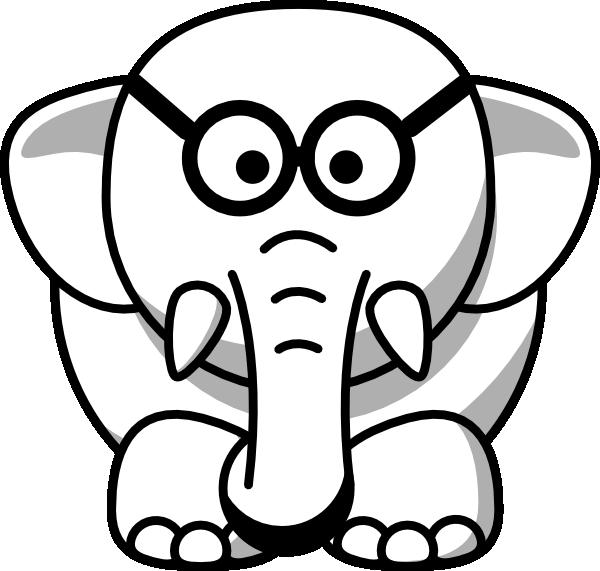 600x571 Line Art Elephant In Glasses Clip Art
