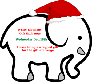 299x267 White Elephant With Red Bow Clip Art