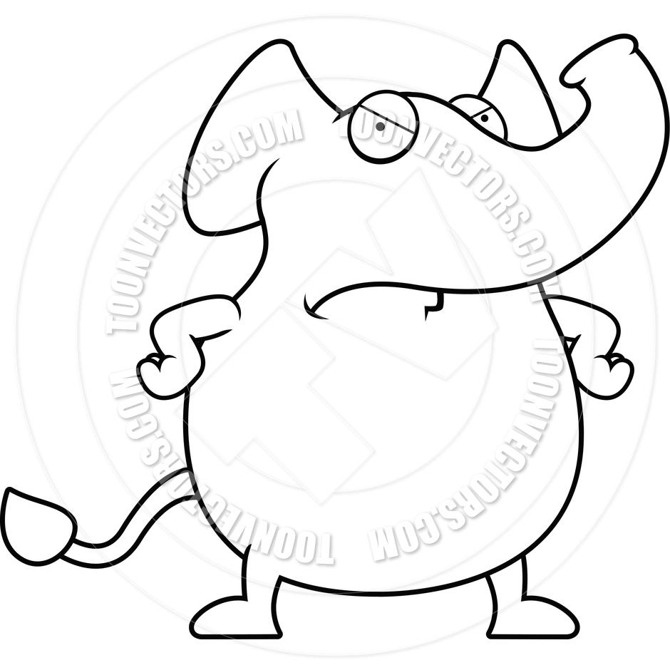 940x940 Cartoon Elephant Angry (Black And White Line Art) By Cory Thoman