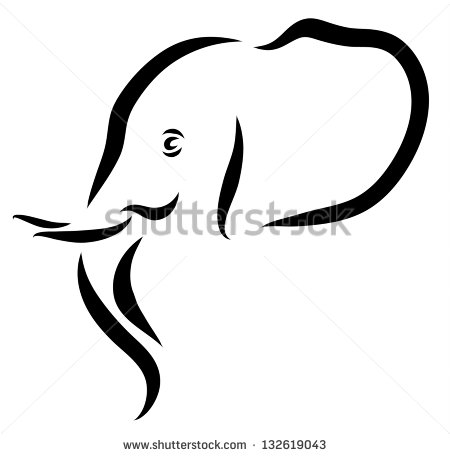 450x456 Elephant Head Profile Outline