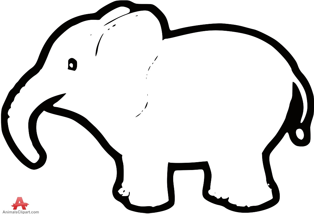 999x681 Outline Baby Elephant Free Clipart Design Download