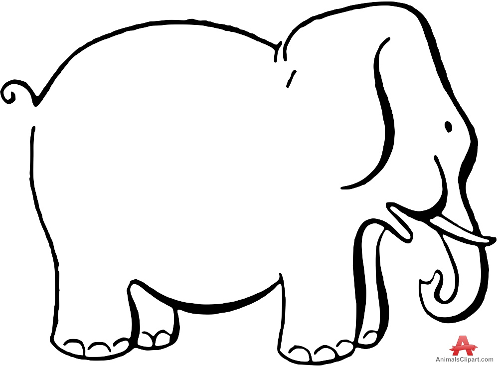999x734 Outline Contour Drawing Of Elephant Free Clipart Design Download