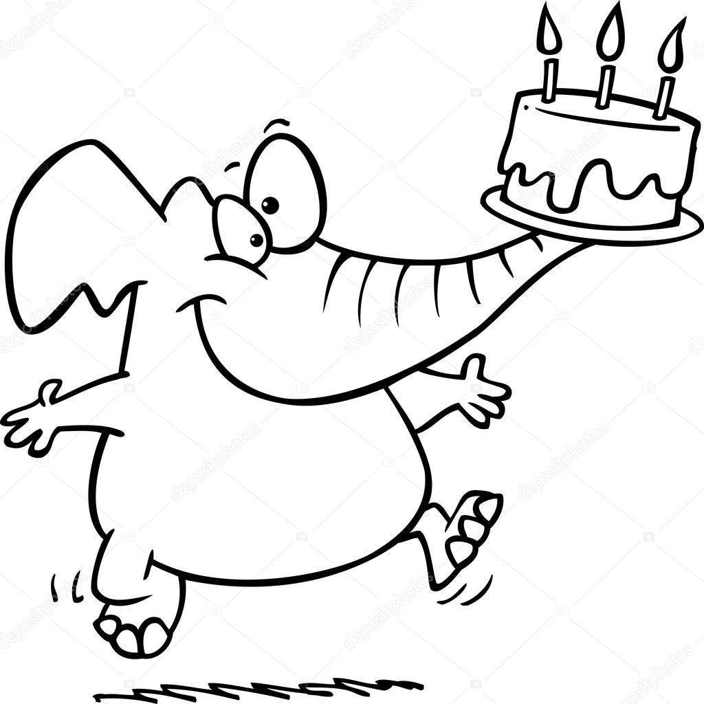 1024x1024 Cartoon Elephant Birthday Stock Vector Ronleishman