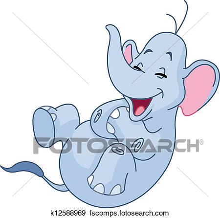 450x446 Clip Art Of Laughing Elephant K12588969