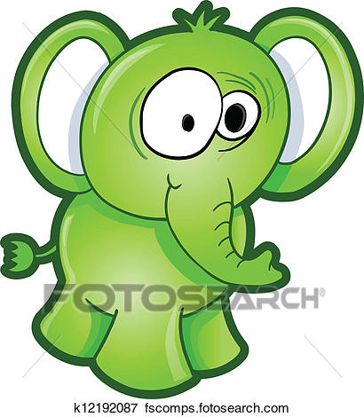 410x470 Clip Art Of Sick Green Elephant Vector K12192087