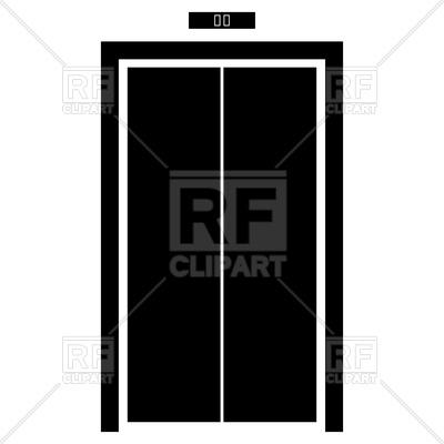 400x400 Elevator Doors Black Color Icon Royalty Free Vector Clip Art Image