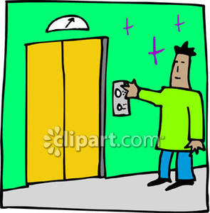 295x300 Man Pressing A Button For The Elevator Royalty Free Clipart Picture