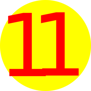 300x300 Yellow, Round, With Number 11 Clip Art