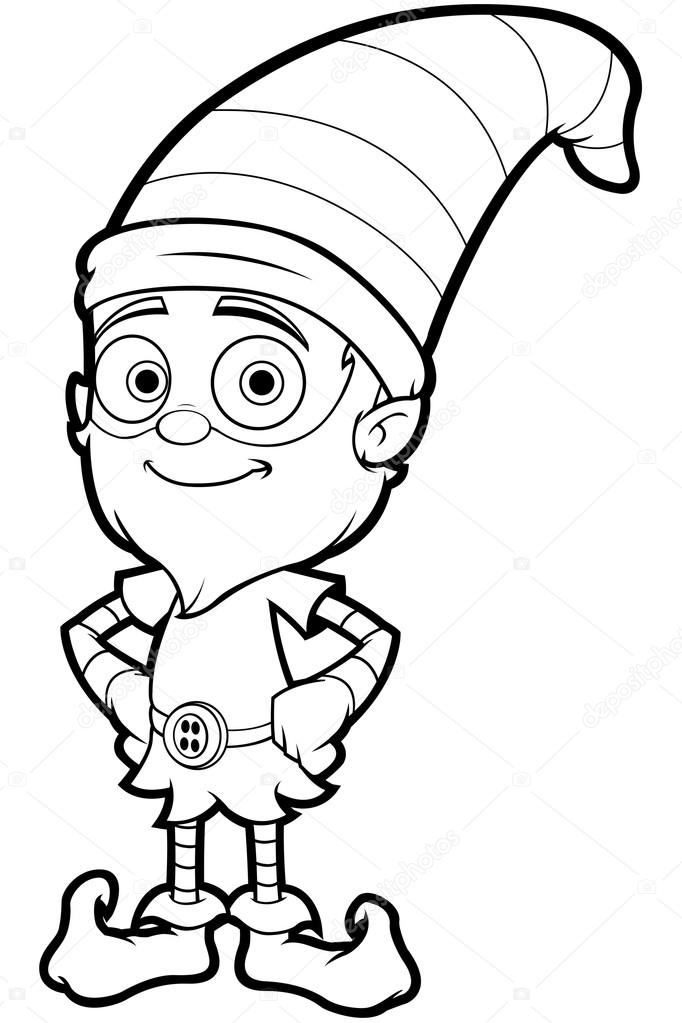 682x1023 Old Elf Character In Black And White Stock Vector Npr1977