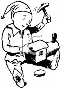 205x300 Black And White Cartoon Of An Elf Working On A Toy Train