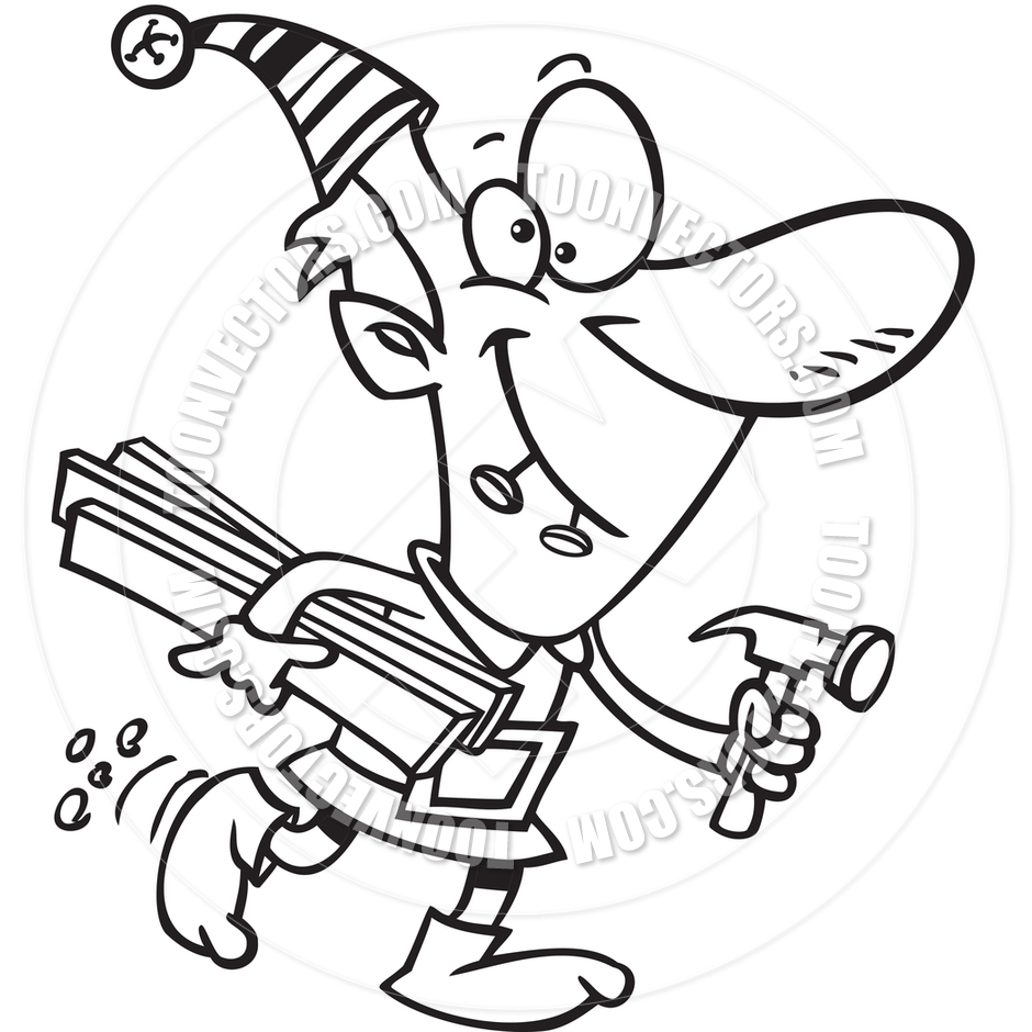 940x940 Cartoon Christmas Elf Worker (Black And White Line Art) By Ron