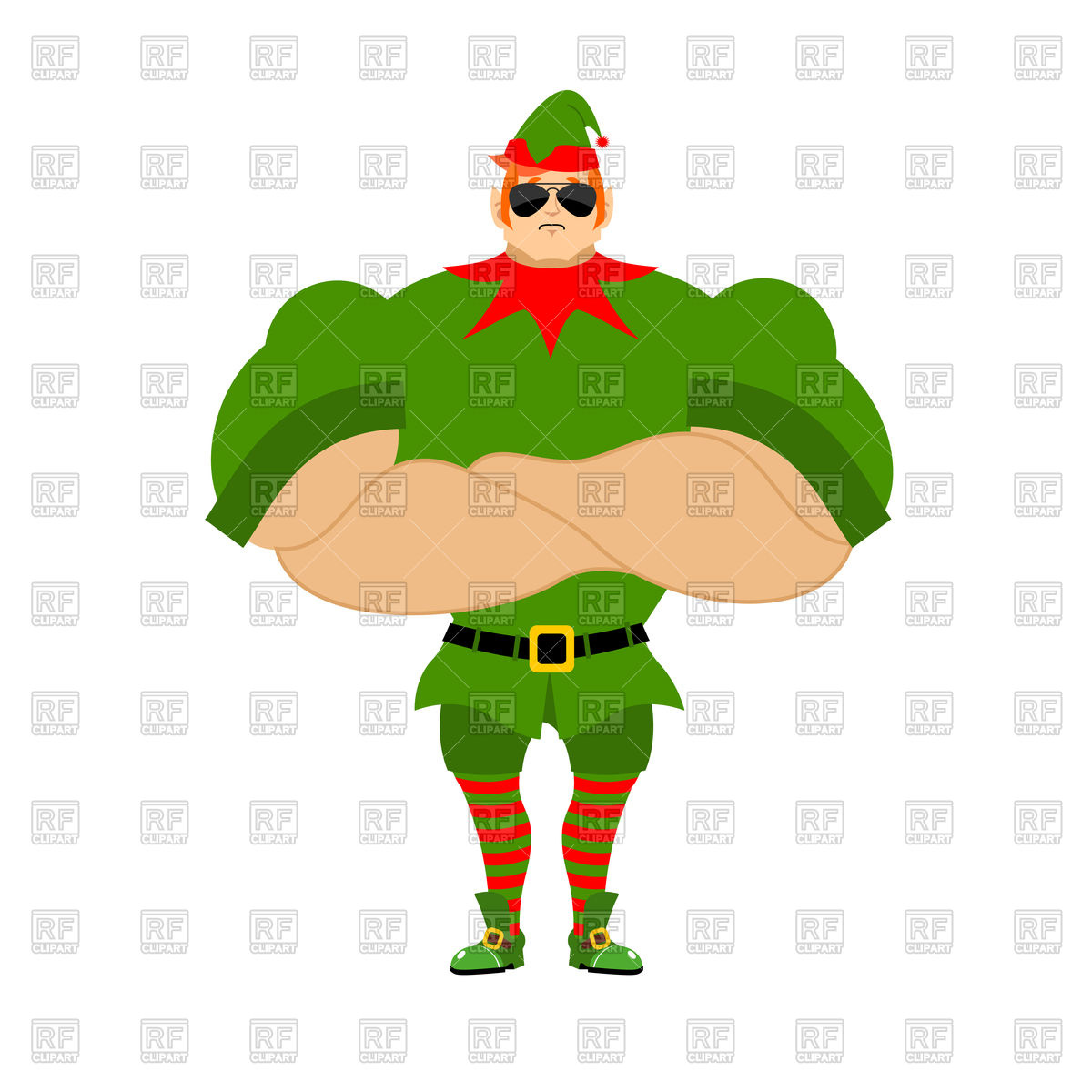1200x1200 Strong Elf. Christmas Guards. Royalty Free Vector Clip Art Image