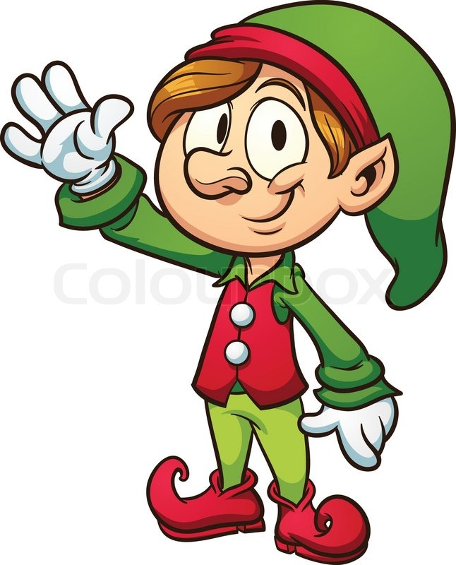 646x800 Christmas Elf. Vector Clip Art Illustration With Simple Gradients