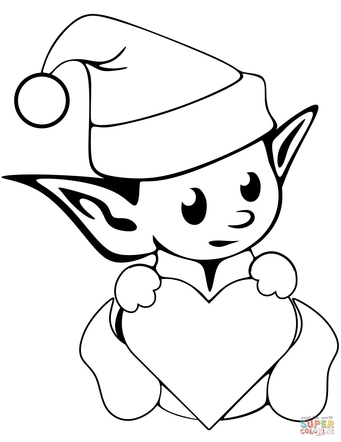 Adorable image pertaining to elf coloring pages printable