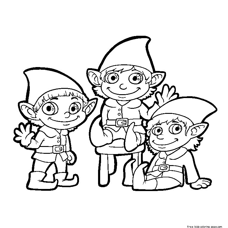 765x765 Elf Waves To Children Christmas Coloring Pages
