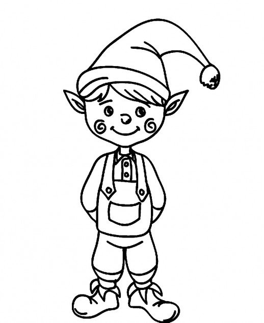 518x635 A Cute Christmas Elf With Funny Cheek Coloring Pages