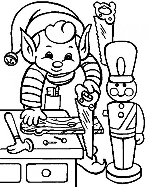 518x650 An Elf Preparing To Make A Woodman For Christmas Gift Coloring