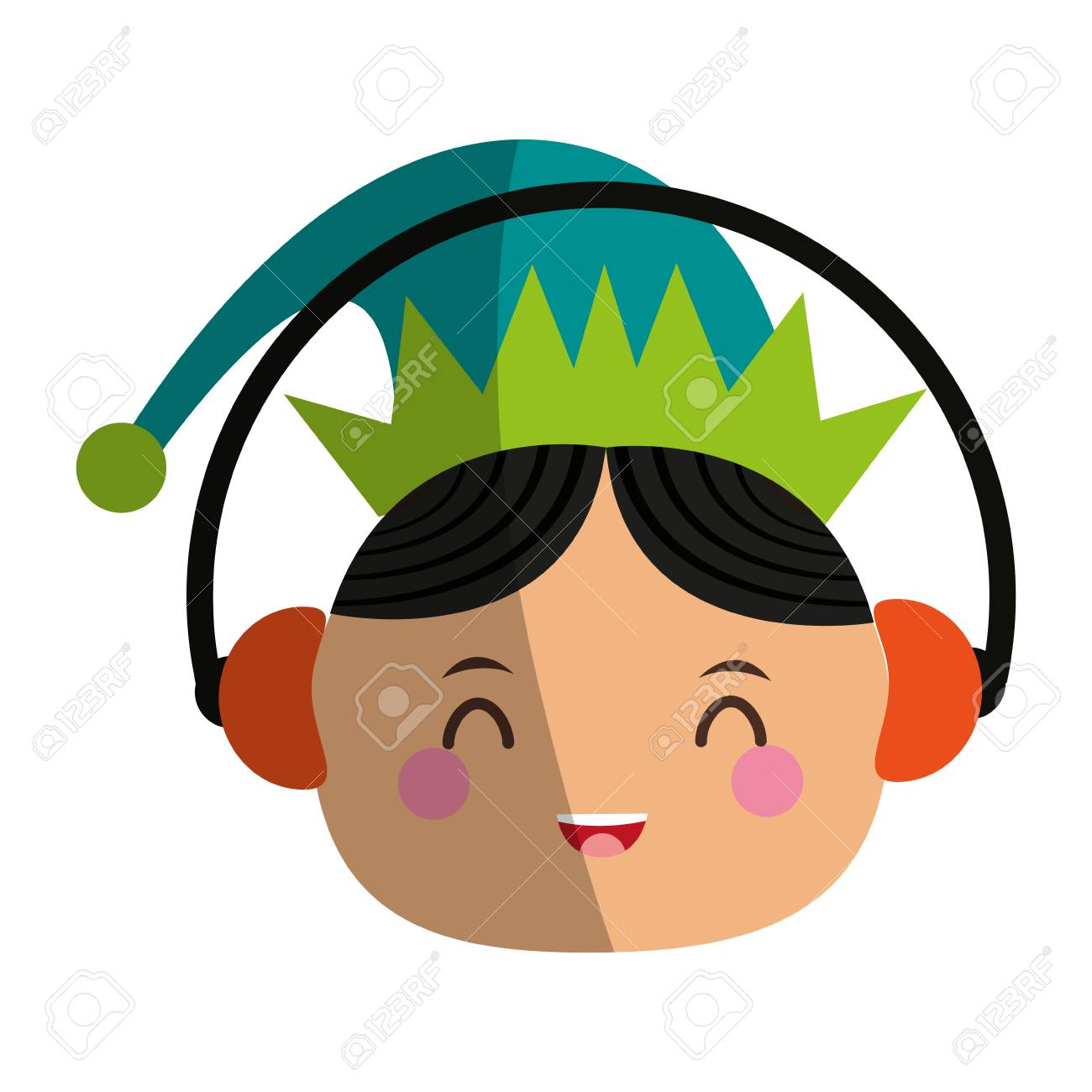 1300x1300 Elf Or Santas Helper Wearing Ear Muffs Christmas Character Icon