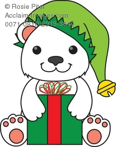 237x300 Free Clipart Illustration Of A Polar Bear In An Elf Hat