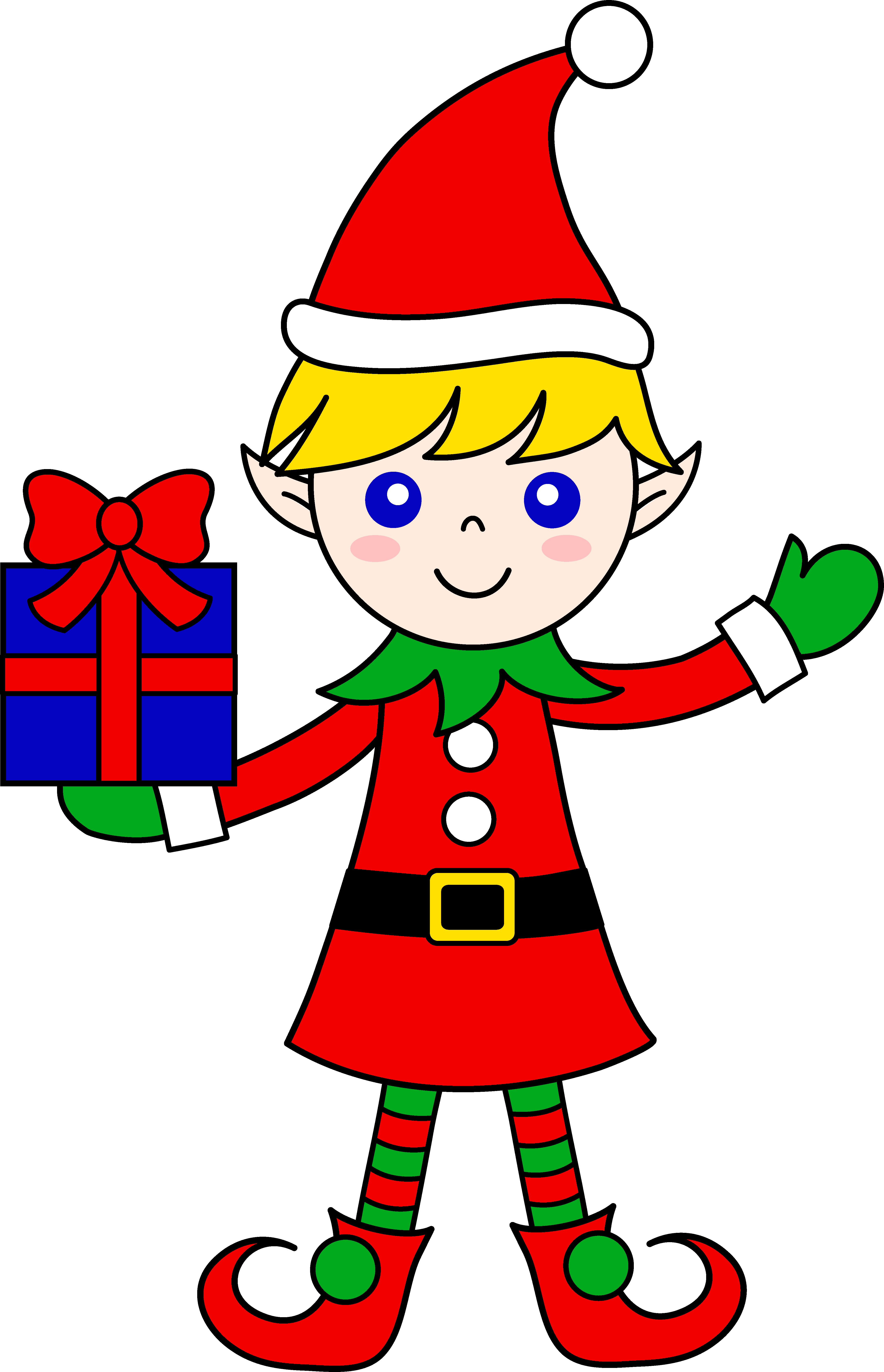 4339x6733 Cute Christmas Elf With Gift