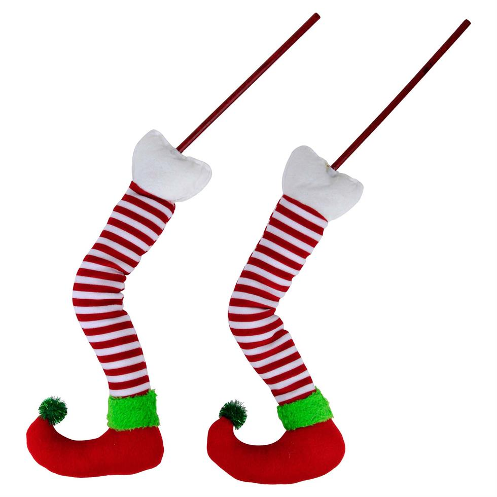 980x980 Pair Of Red Stripy Fabric Elf Legs The Christmas Boutique