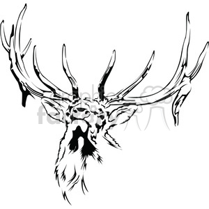 300x300 Royalty Free black and white Elk 394987 vector clip art image