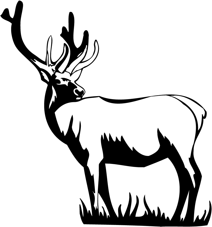 842x904 Stag clipart black and white