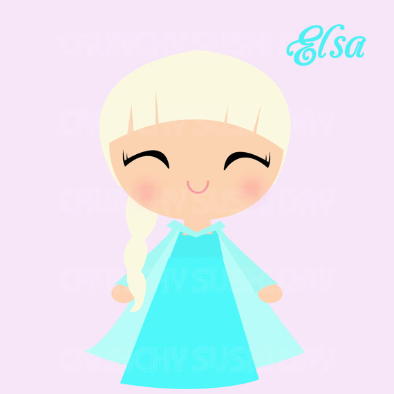 570x570 Instant Download Princess Elsa, Frozen, Cute Kawaii Princess