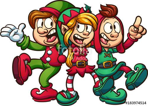 500x359 Cartoon Singing Christmas Elves. Vector Clip Art Illustration