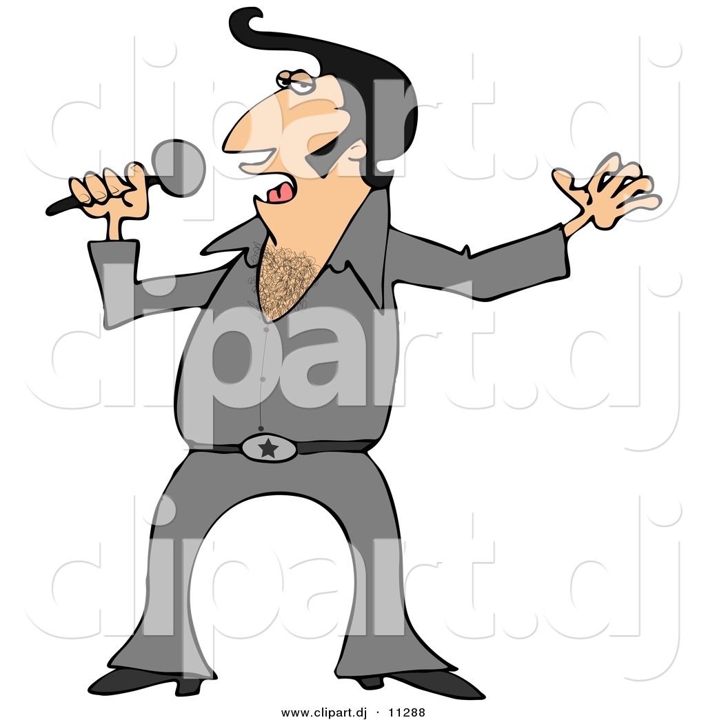 1024x1044 Vector Clipart Of A Cartoon Elvis Impersonator Singing With Mic By