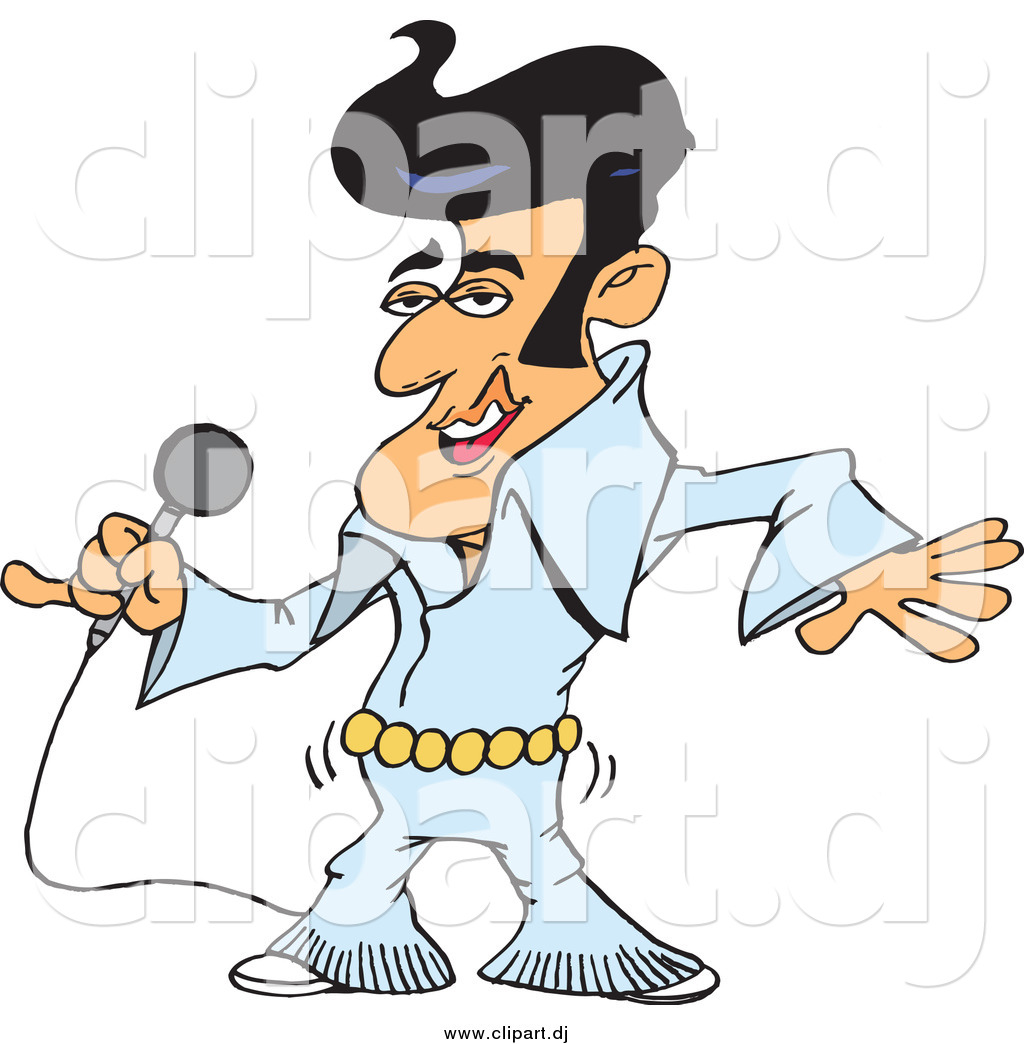 1024x1044 Vector Clipart Of An Elvis Impersonator Singing And Shaking His