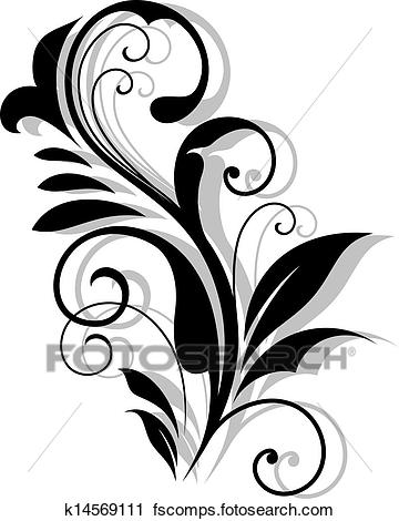 360x470 Clipart Of Curly Floral Embellishment K14569111