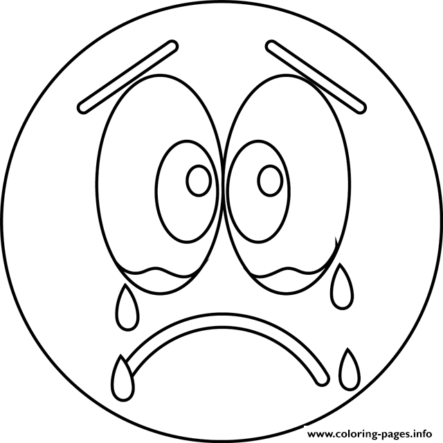 640x640 Sad Face Coloring Page Sad Cry Emoji Coloring Pages Printable