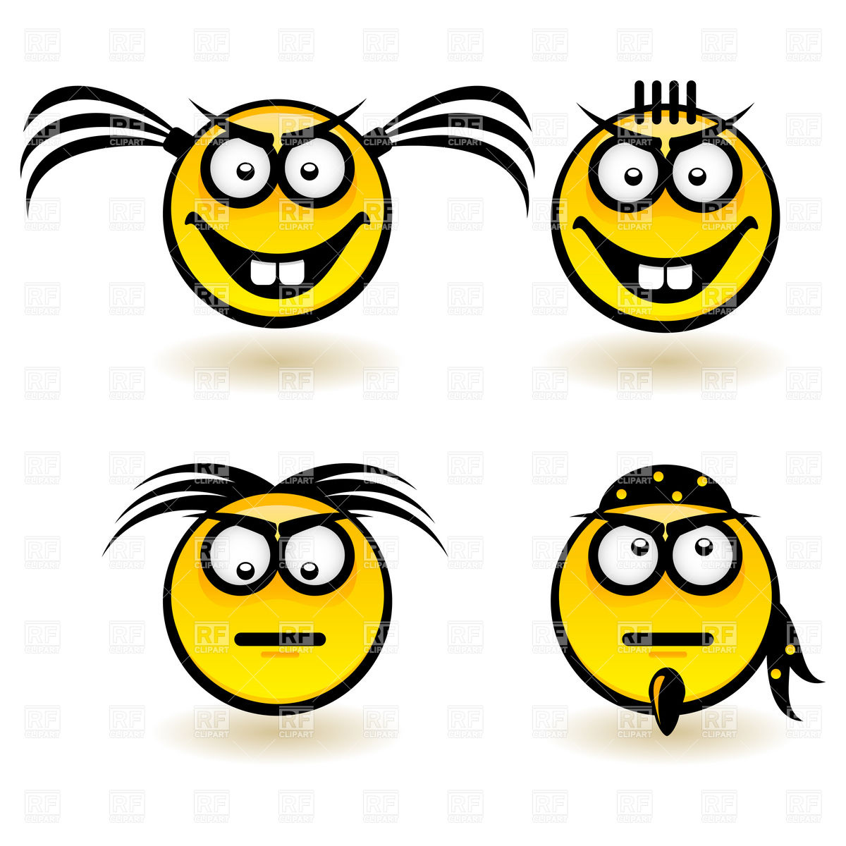 1200x1200 Cartoon Smiley Face Icons With Emotions (Serious And Cheerful