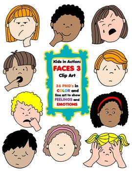 270x350 Kids In Action Faces 3 Clip Art 36 Pngs To Show Feelings And Emotions