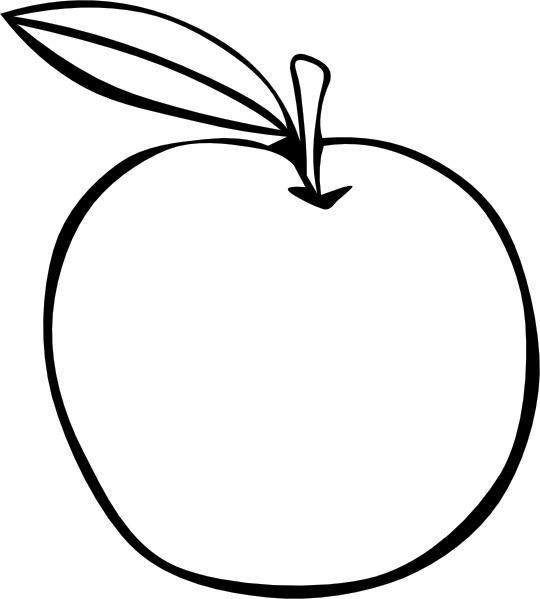 540x599 Apple Clipart B W