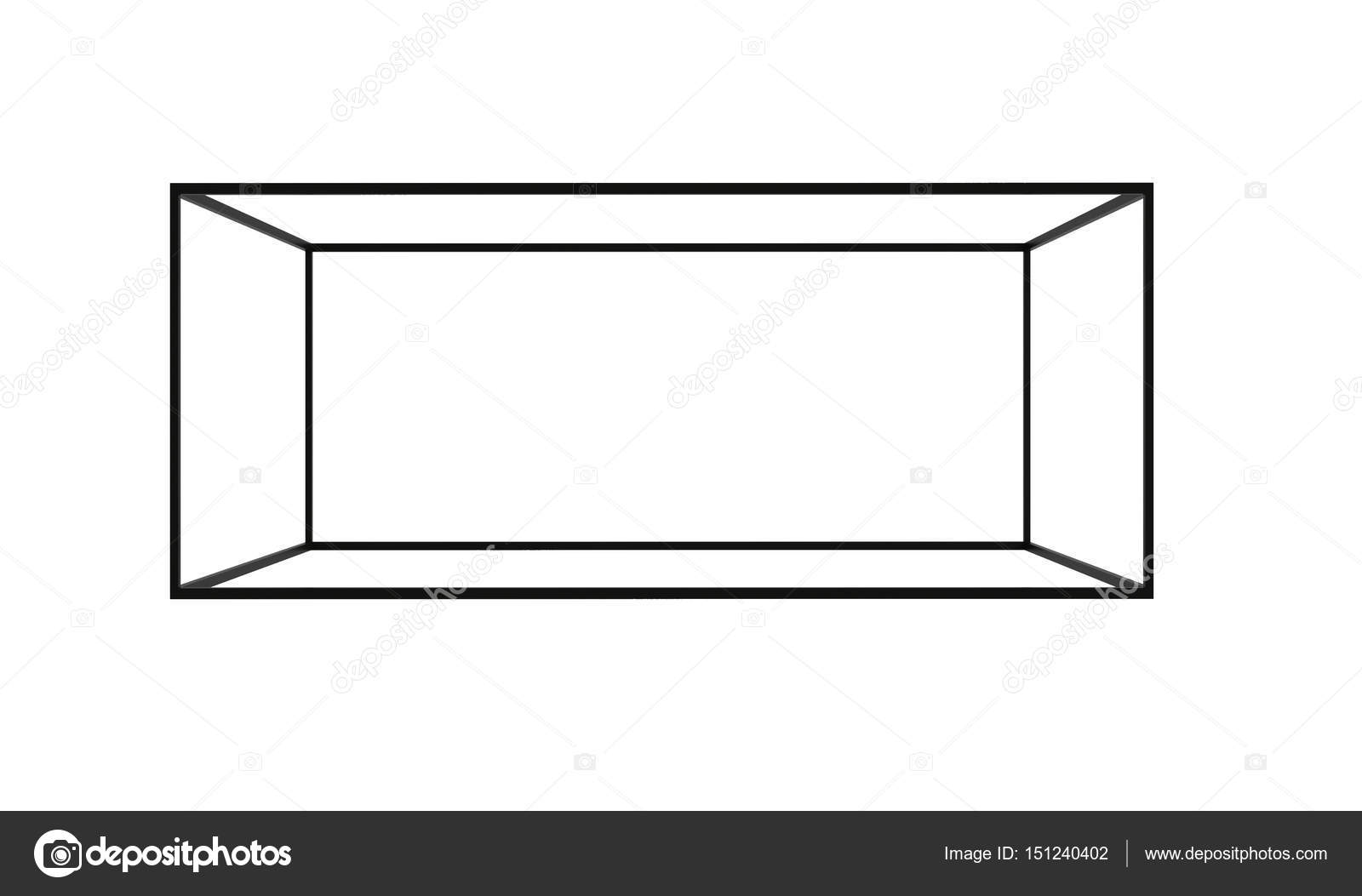 1600x1053 3d Black Empty Box Frame Isolated On White Background, Clipping