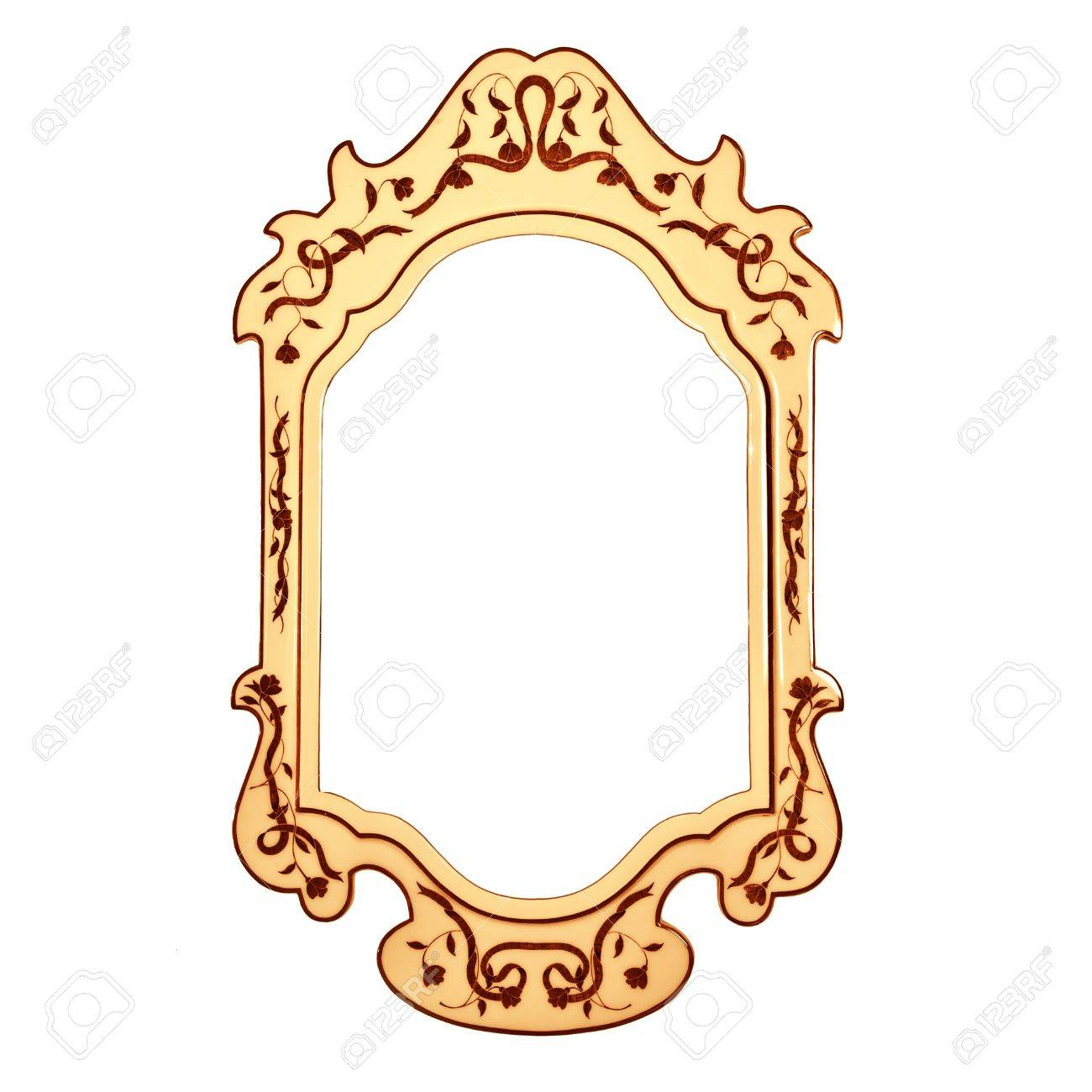 1300x1300 Empty Vintage Mirror Frame Isolated On White Background, Golden