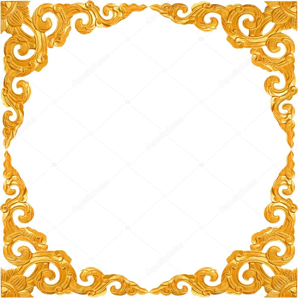1021x1023 Empty Golden Vintage Frame Isolated On White Background Stock