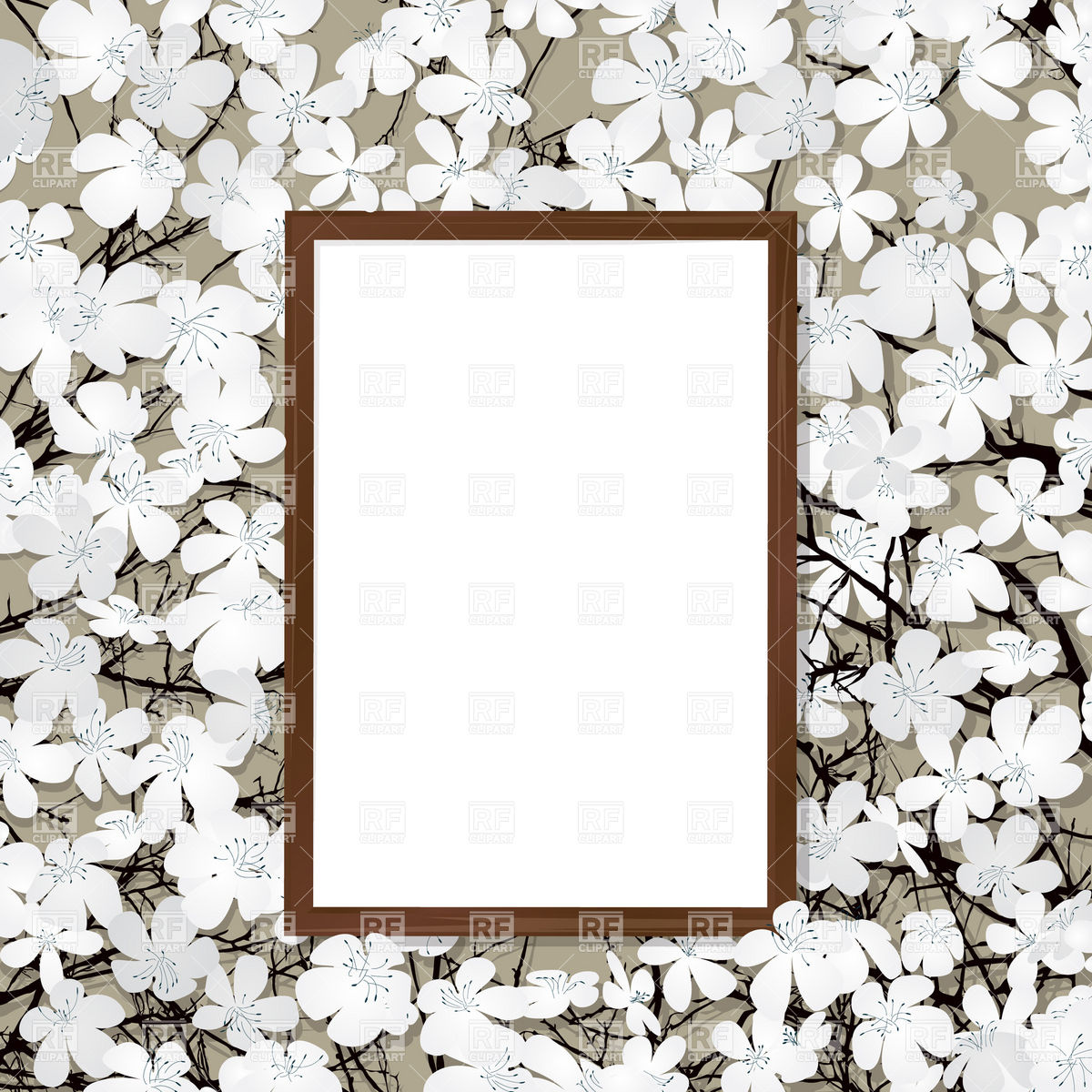 1200x1200 Empty Wooden Frame And Blooming Cherry Royalty Free Vector Clip