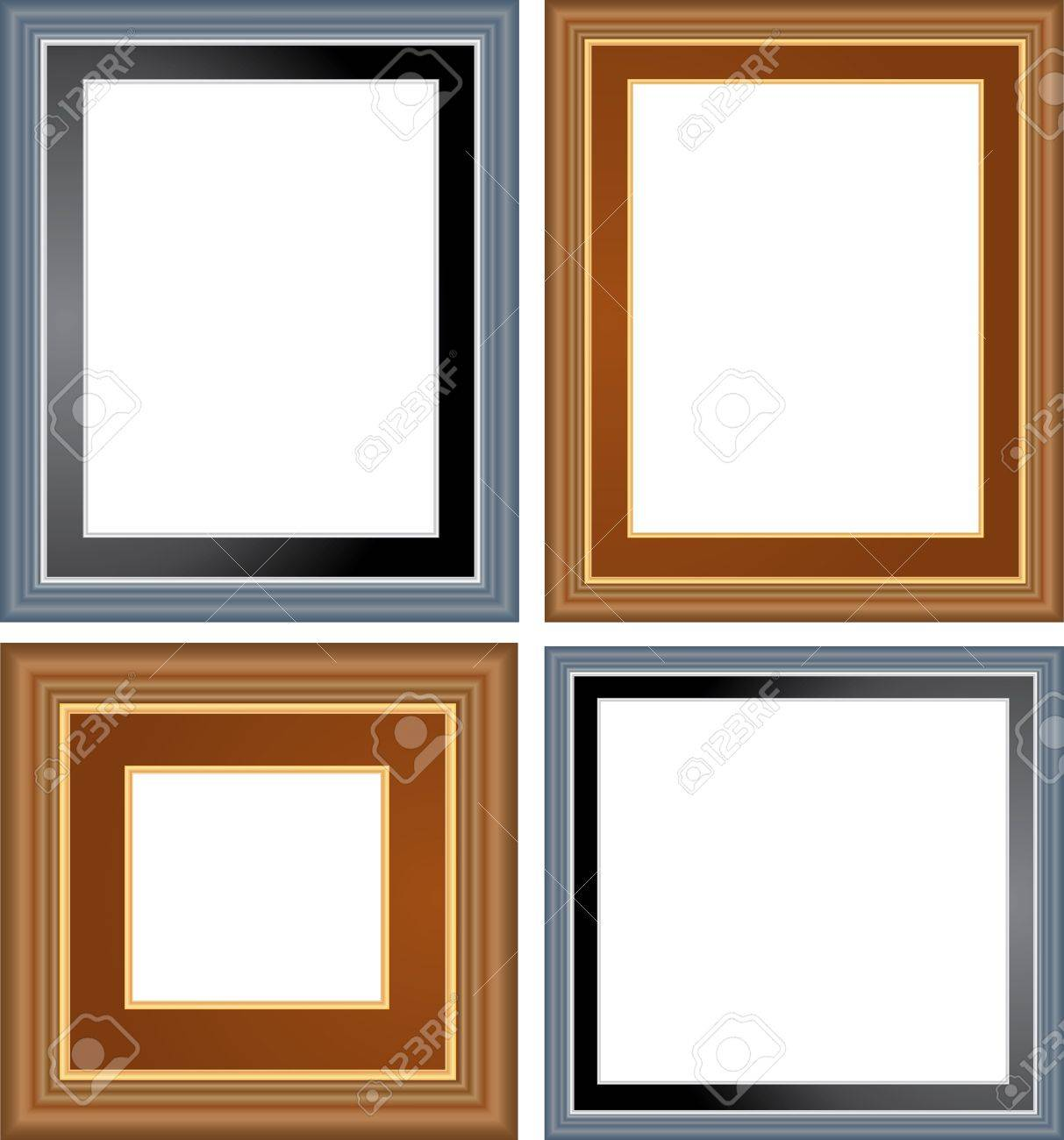 1213x1300 Vector Blank Empty Frames On White Wall Royalty Free Cliparts