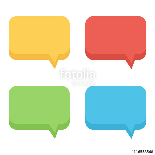 500x500 Colorful Flat Design Empty Speech Bubbles Set, Collection Isolated