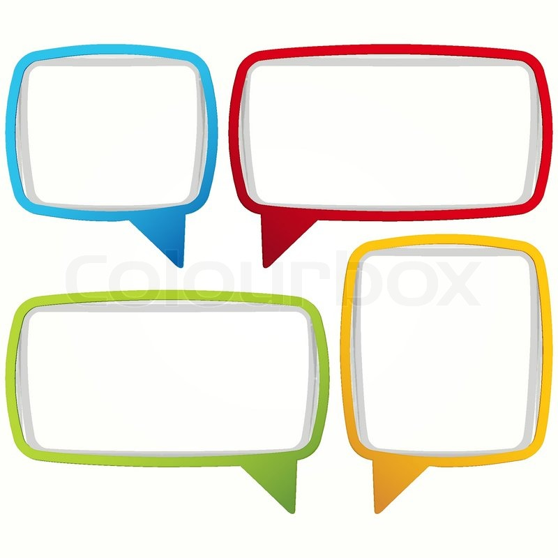 800x800 Colorful Speech Bubble Frames Labels In The Form Of An Empty Frame