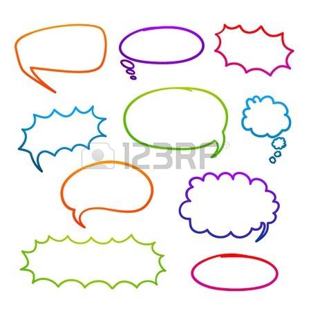 450x450 Blank Text Comic Colored Speech Bubbles In Pop Art Style. Elements