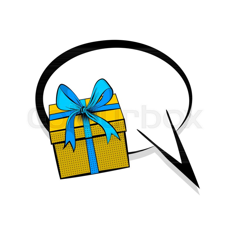 800x800 Gift Box Birthday Picture Blank Template Pop Art Style Comic Text