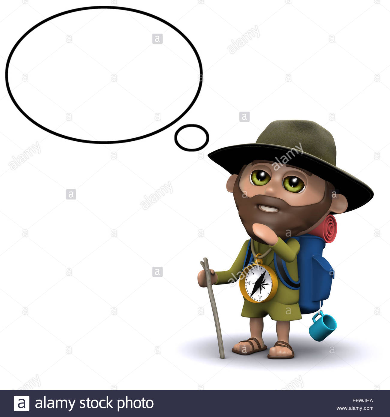 1300x1390 3d Render Of An Explorer With Empty Thought Bubble Stock Photo