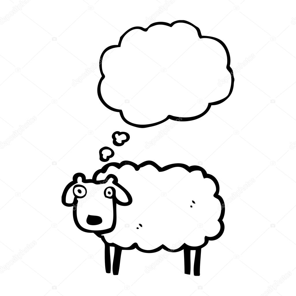 1024x1024 Sheep With Thought Bubble Stock Vector Lineartestpilot